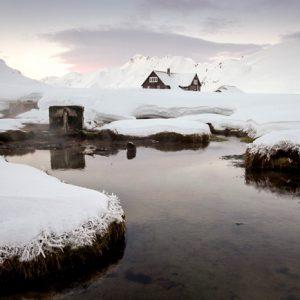 Ландманналаугар термальные источники Исландии зимой